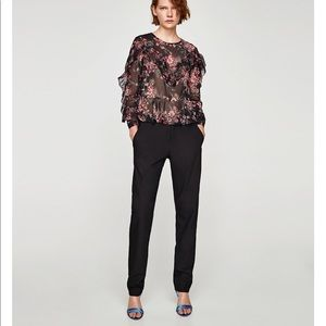 Floral Flowing Blouse with frills, NWT